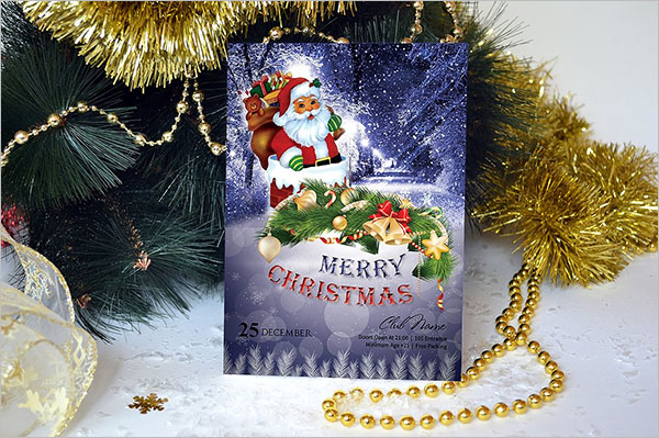 3D Marry Christmas Flyer Template