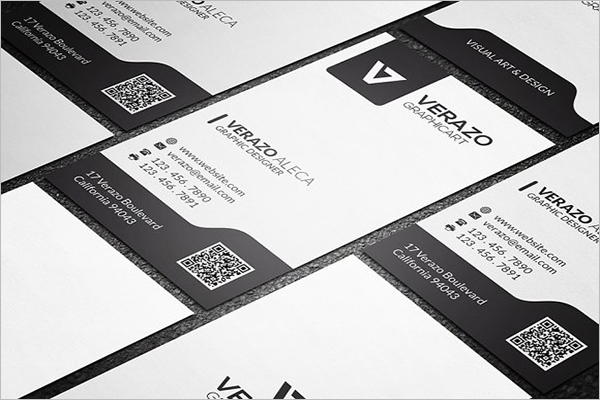 Black & White QR Code Business Card Template