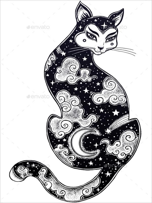 Cat Double Exposure Poster Design