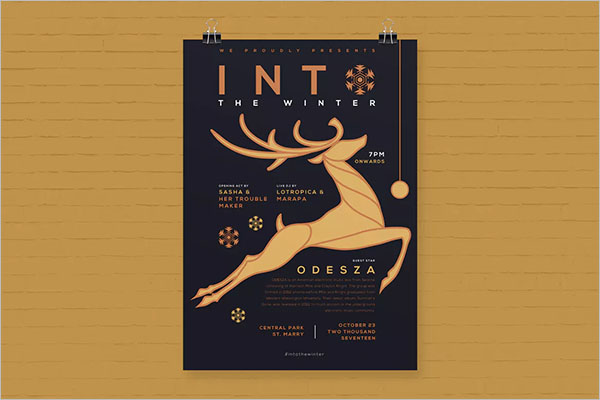 Christmas Event Hanging Poster Template