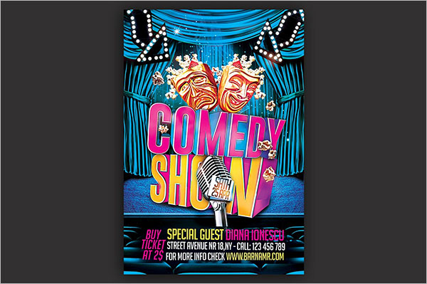 Comedy Show Flyer PSD Template