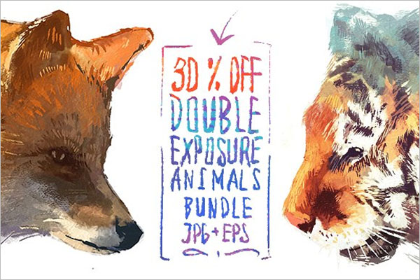 Double Exposure Animals Set Poster
