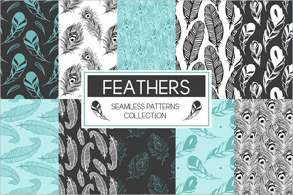 Feather Seamless Pattern Template