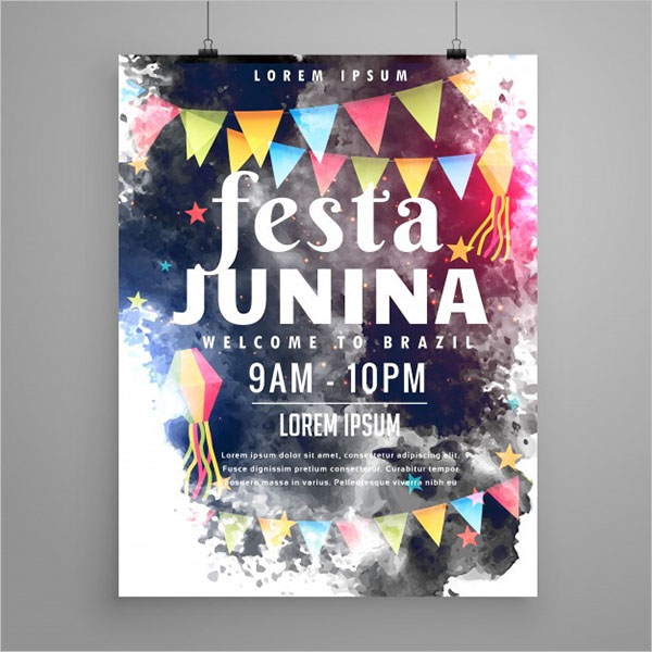 Festa Watercolor Hanging Poster Template