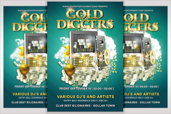 Gold Diggers Flyer Template