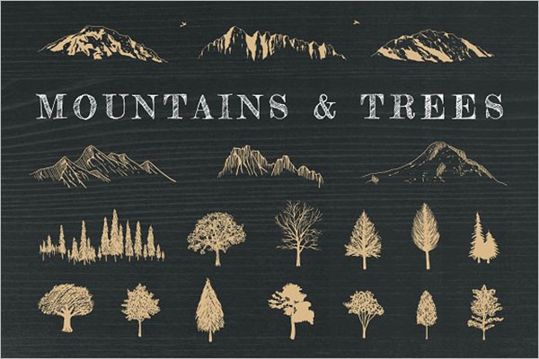 Hand-Drawn Mountains Design