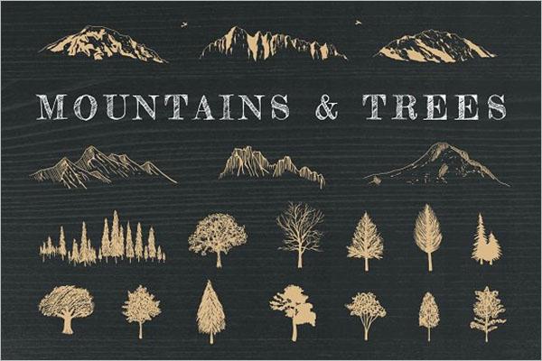 Hand-Drawn Mountains Design