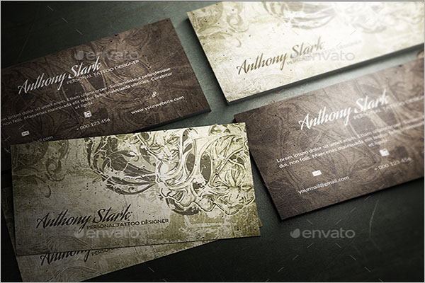 25 tattoo business card templates free vector psd designs illustrated tattoo business card template wajeb Gallery