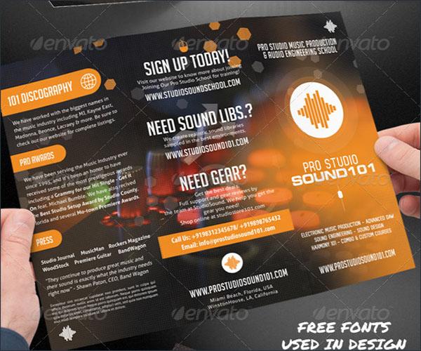 Music Studio Trifold Brochure