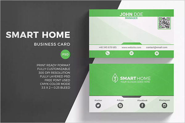 Printable QR Code Business Card Template