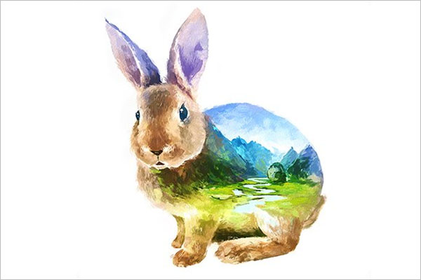 Rabbit Double Exposure Poster