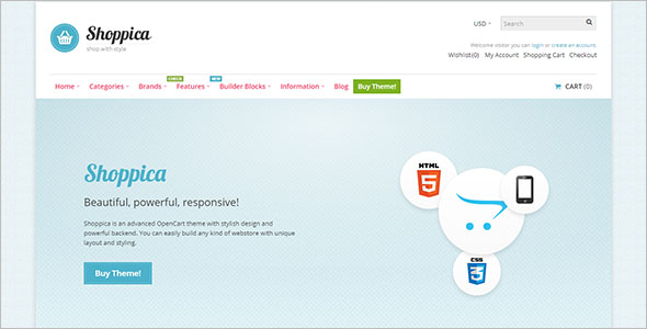 Responsive Opencart Theme Layout