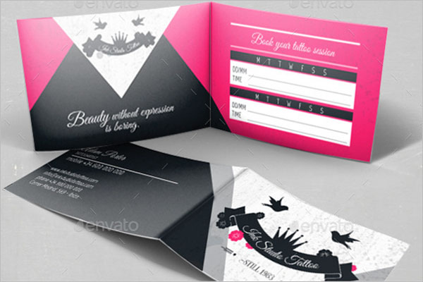 Tattoo Folded Business Card Template