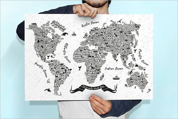 Typography World Map Poster Design