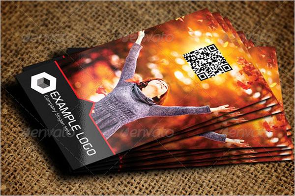 Vertical QR Code Business Card Template