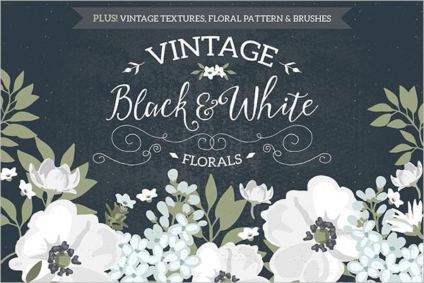 Vintage Black & White Florals