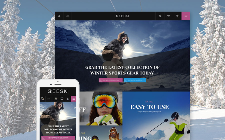 ski gear Shopify theme