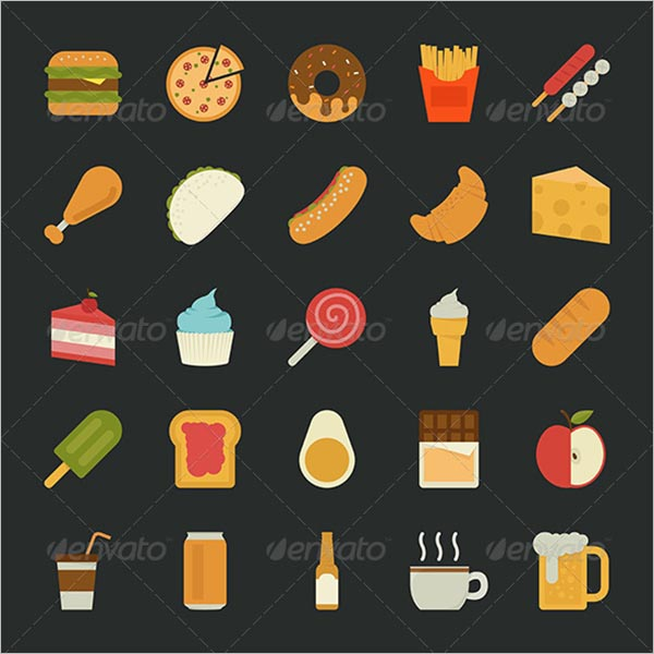 Beautiful Food Icon Set