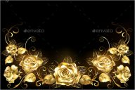 Black Background with Gold Roses