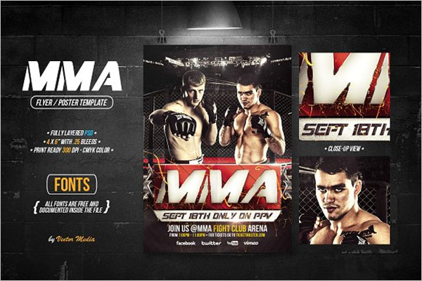 Boxing Flyer Designs Fonts