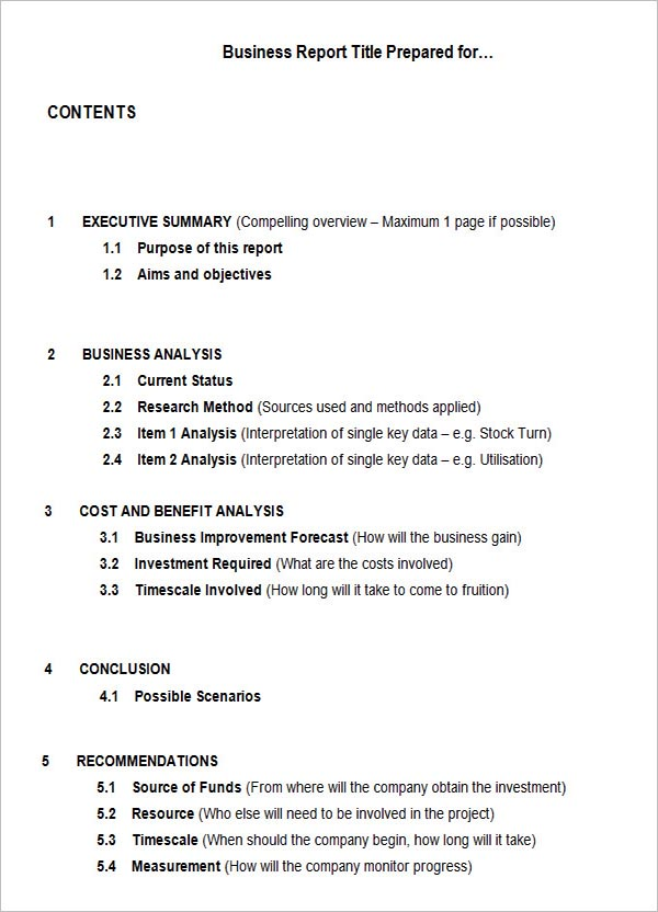 Business Analysis Report Template