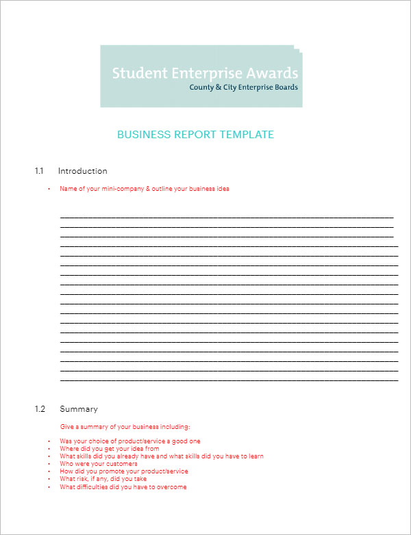 38 business report templates word free download creativetemplate business report template word accmission Gallery