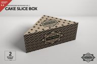 Cake Slice Box Packing Mockup