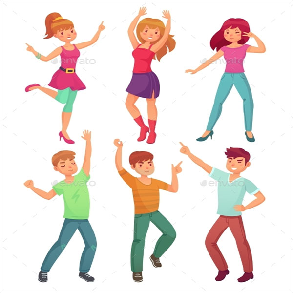 Cartoon People Dance Icons