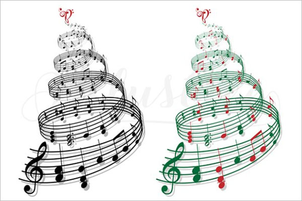 Christmas Tree with Music Notes