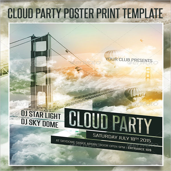 Cloud Dance Party Poster Print Template