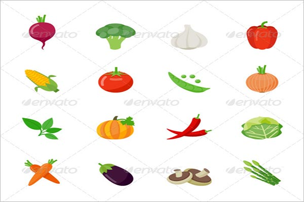 Colorful Vegetable Icon Design Template