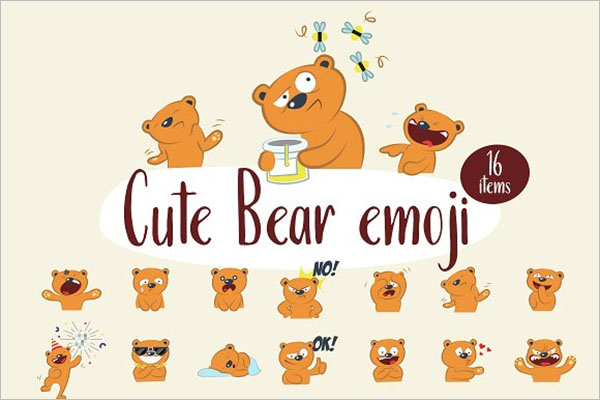 Cute Bear Emoji Icons