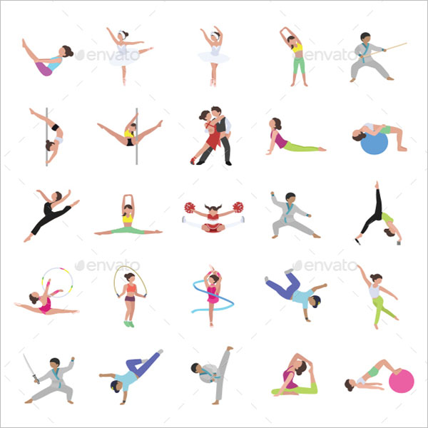 Dance Color Vector Icons