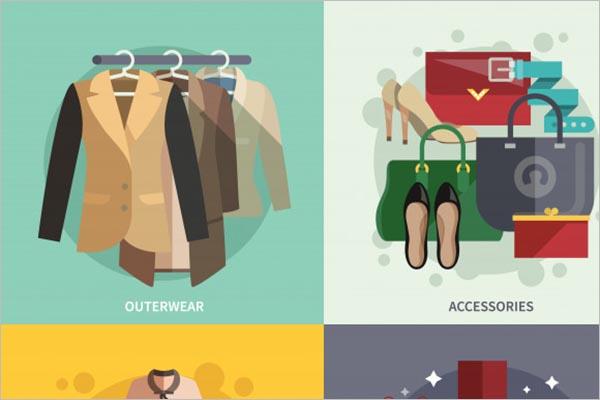 Fashion Clothes Icons Flat Design