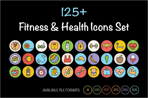 fitness and health icons Premium