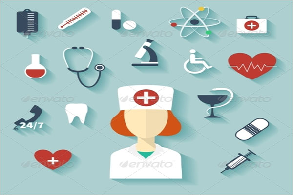 Flat Design Modern Illustration of Medical Icons