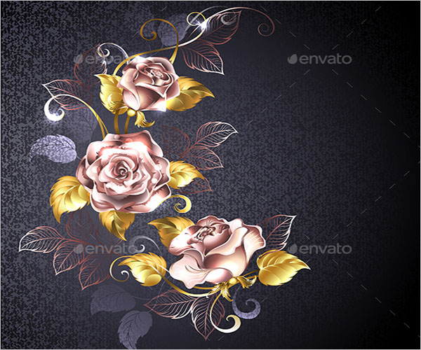Flower Roses in Gold Background