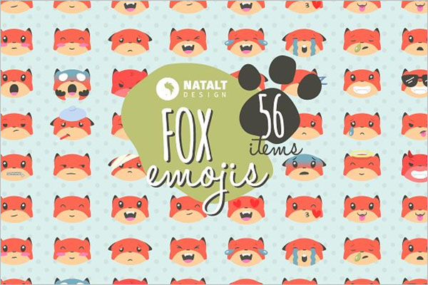 Fox Emojis Set Of  Icons