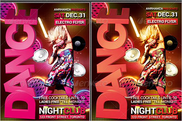 Glow Dance Party Poster Template
