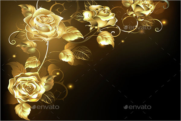 Gold Rose on Dark Background
