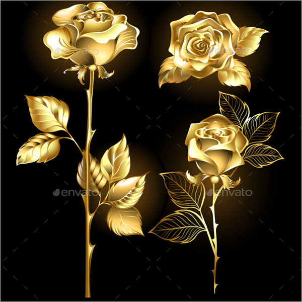 Golden Roses Background Design