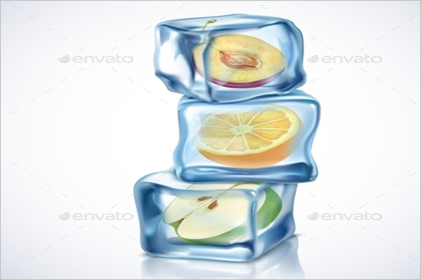 Ice Cube With Fruits Background
