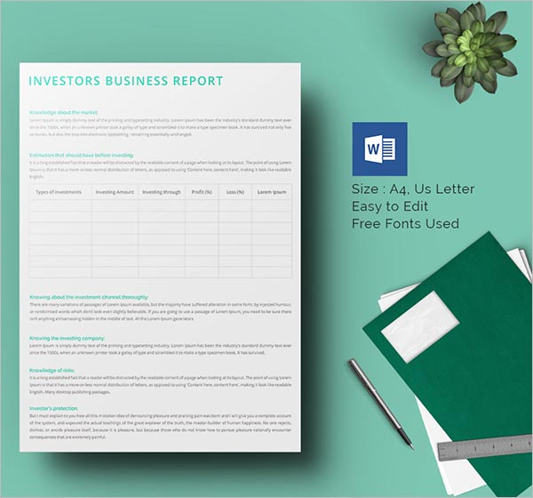 Information Business Report Template