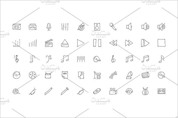 Music Hand Drawn Doodle Icons