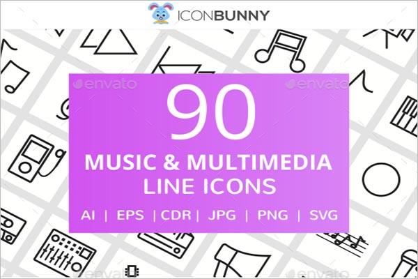 Music & Multimedia line Icon