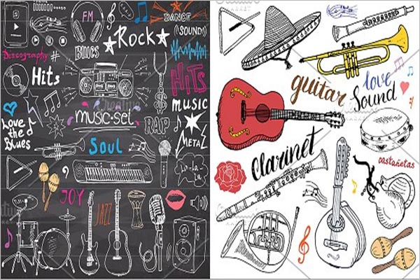 Music Sketched Doodles Vector