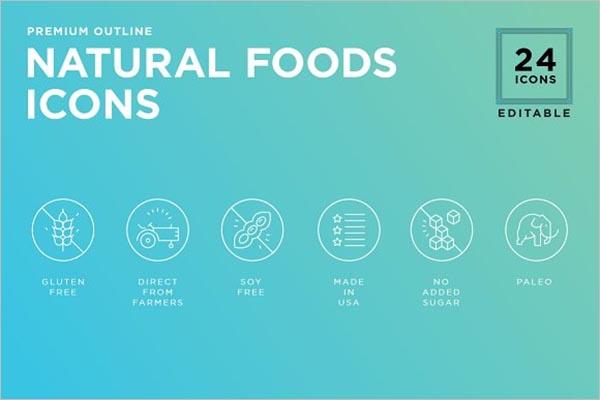 Natural Food icon set