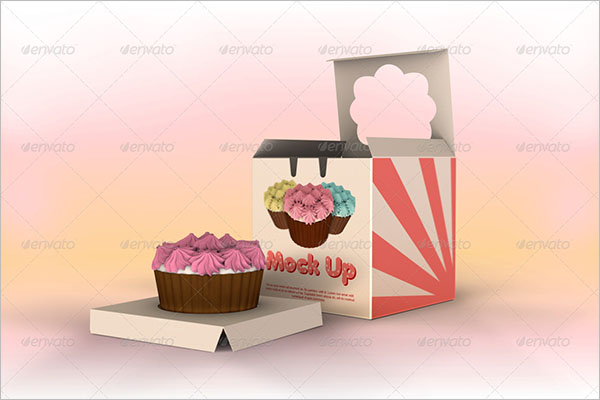 One Piece Cup Cake Box Mockup