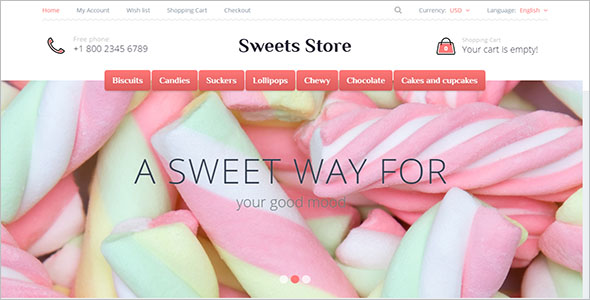 OpenCart Sweets Store Template