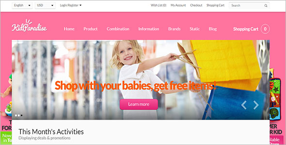 Opencart Kids Store Templates